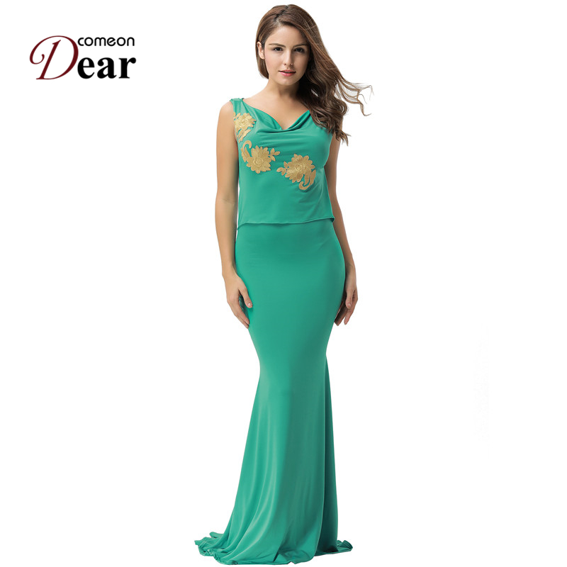 Comeondear Mermaid Green <font><b>Dress</b></font> Womens Clothing Vestido De Mujeres Overol VB1075 <font><b>Sex</b></font> Backless Embroidery Vetement Femme 2017 image