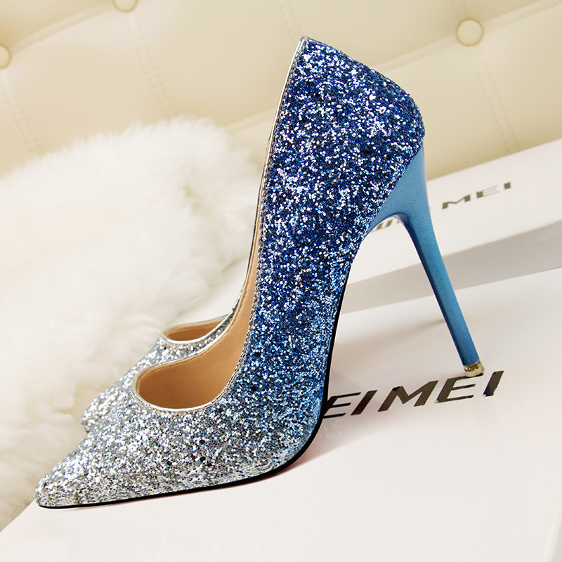 Detail Feedback Questions about 2018 Women 11cm Thin High Heels Pumps Sexy  Glitter Leather Bright Pointed Toe Scarpins Female Stiletto Purple Blue  Bling ... 183d01b72ded