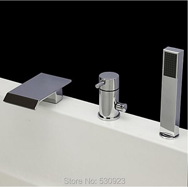 New Arrival Modern 3Pcs Bathroom Tub Faucet Set W/ ABS Handheld Shower Chrome Polished Mixer Tap Bathtun Faucet Deck Mounted