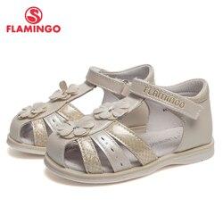 QWEST marca arco cuero plantillas verano gancho & Loop plano niños zapatos tamaño 21-26 niños sandalias para niña 91S-HL-1406
