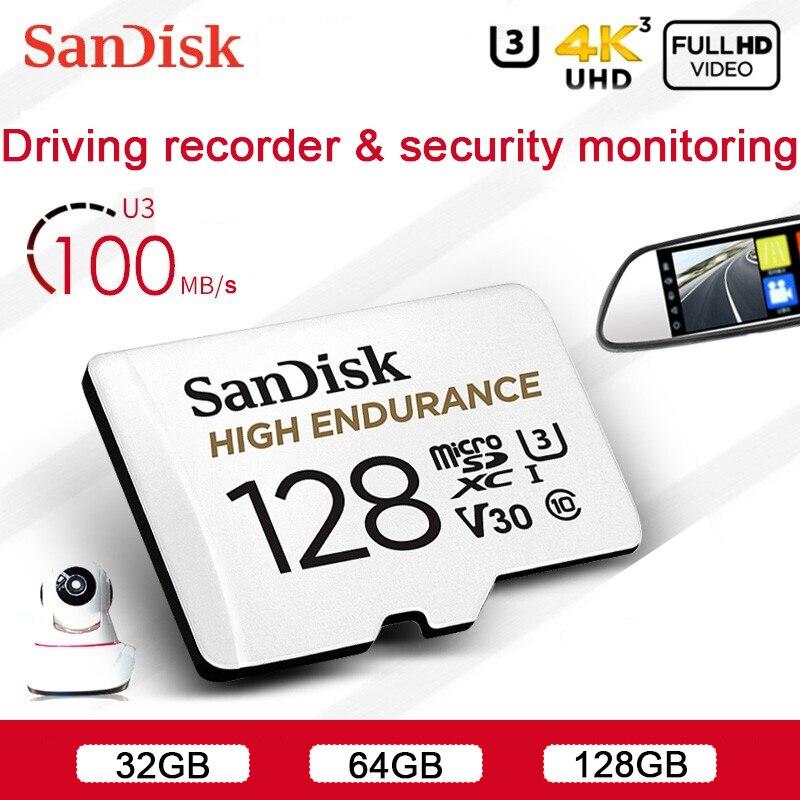 Carte mémoire Sandisk Micro SD carte mémoire haute Endurance MicroSD 32 GB 64 GB 128 GB jusquà 100 M/s carte TF C10 U3 V30 Cartao De Memoria