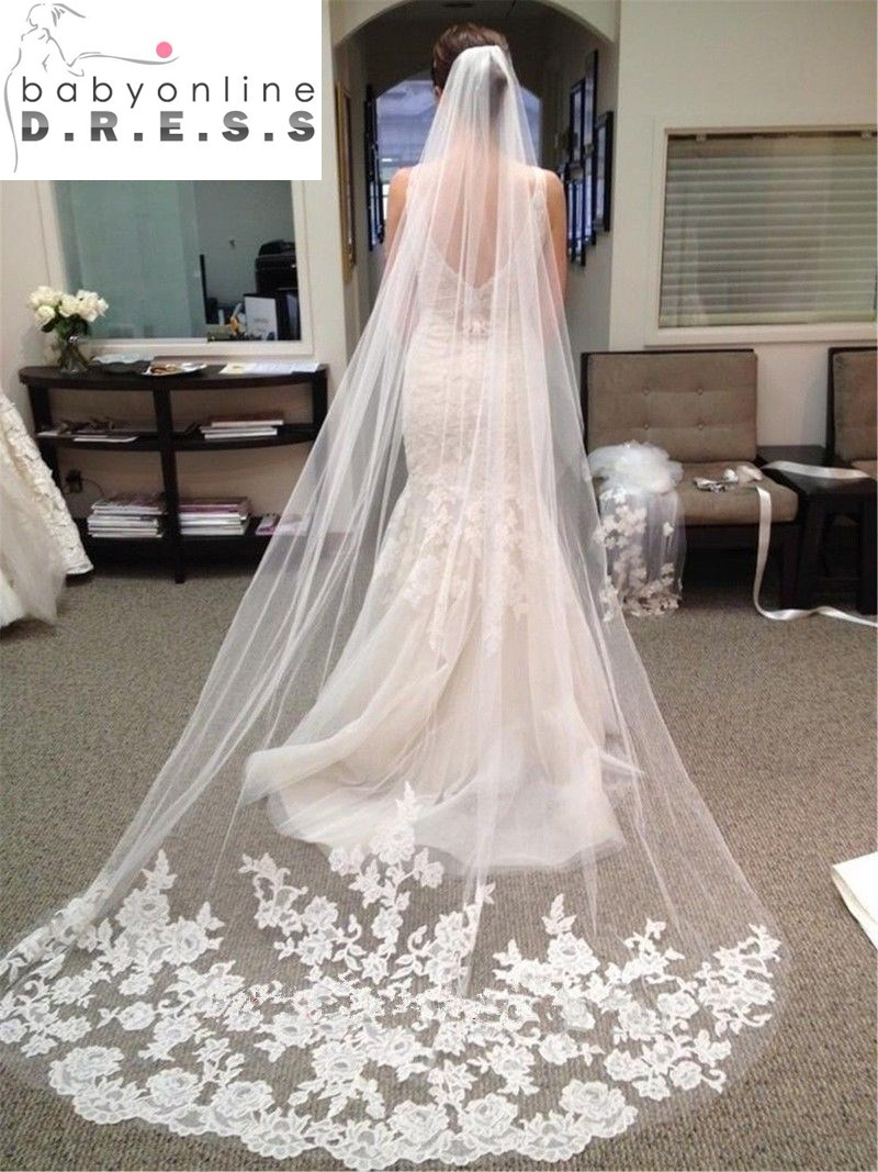Wedding Accessories 2017 Appliques Tulle Long Cathedral Wedding Veil Lace Edge Bridal Veil with Comb veu de noiva longo