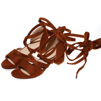 בתוספת גודל 42 קיץ נשים עור PU בסגנון רומי סנדלי לשרוך צבע מוצק נשים קיץ בוהן פתוח סנדלי העקב מרובע נעליים 5 ס