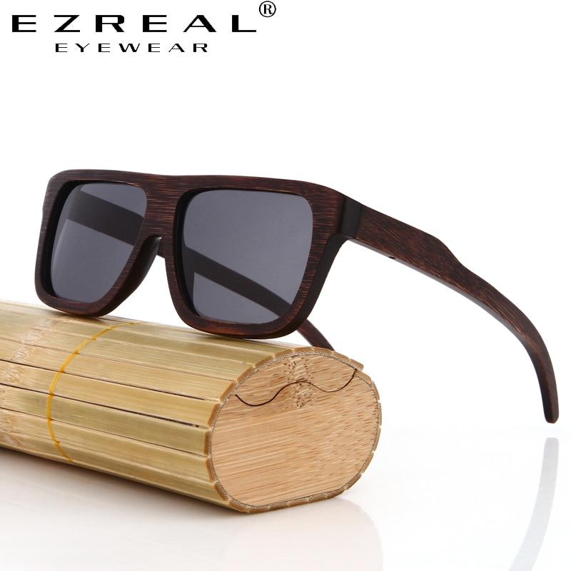 EZREAL šaunūs mediniai bambuko saulės akiniai vyrams Mediniai - Drabužių priedai - Nuotrauka 2