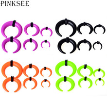 PINKSEE 12Pcs Acrylic Gauge Taper Horn Fake Ear Expansion Stretcher Tunnel Plug Solide Color Ear Piercing Jewelry
