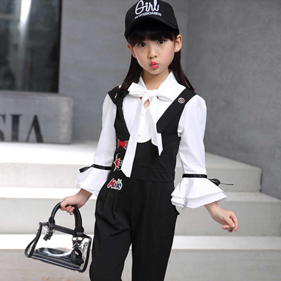 4 5 6 7 8 9 10 11 12 13 Year Old Girl 2019 New Spring Autumn Children Clothing White Chiffon Blouse Pants 2pcs Kids Suit