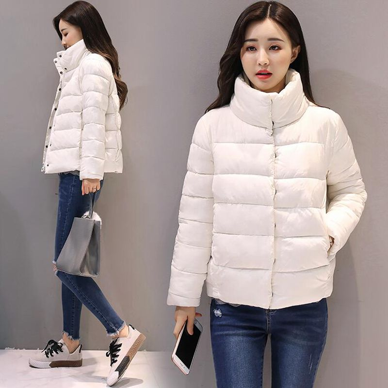new women winter jacket short cotton padded womens coat autumn casaco feminino inverno solid color parka stand collar women