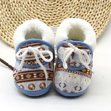 Baby Boots Warm Soft Baby Retro Printing Cotton Padded Infant Baby Boys Girls Soft Boots 6-12M