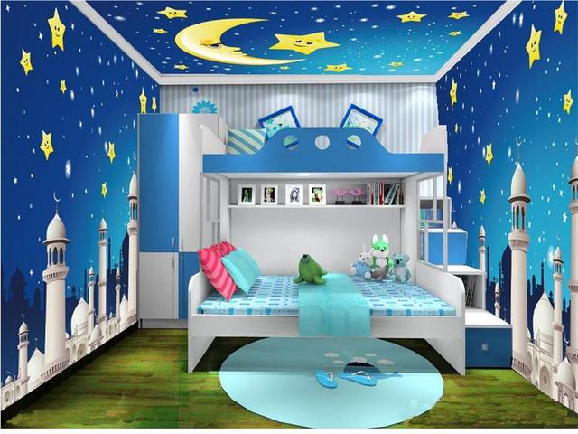 Taille personnalis e mural photo 3d papier peint chambre d 39 enfants toiles mois ch teau 3d - Moisissure tapisserie chambre ...