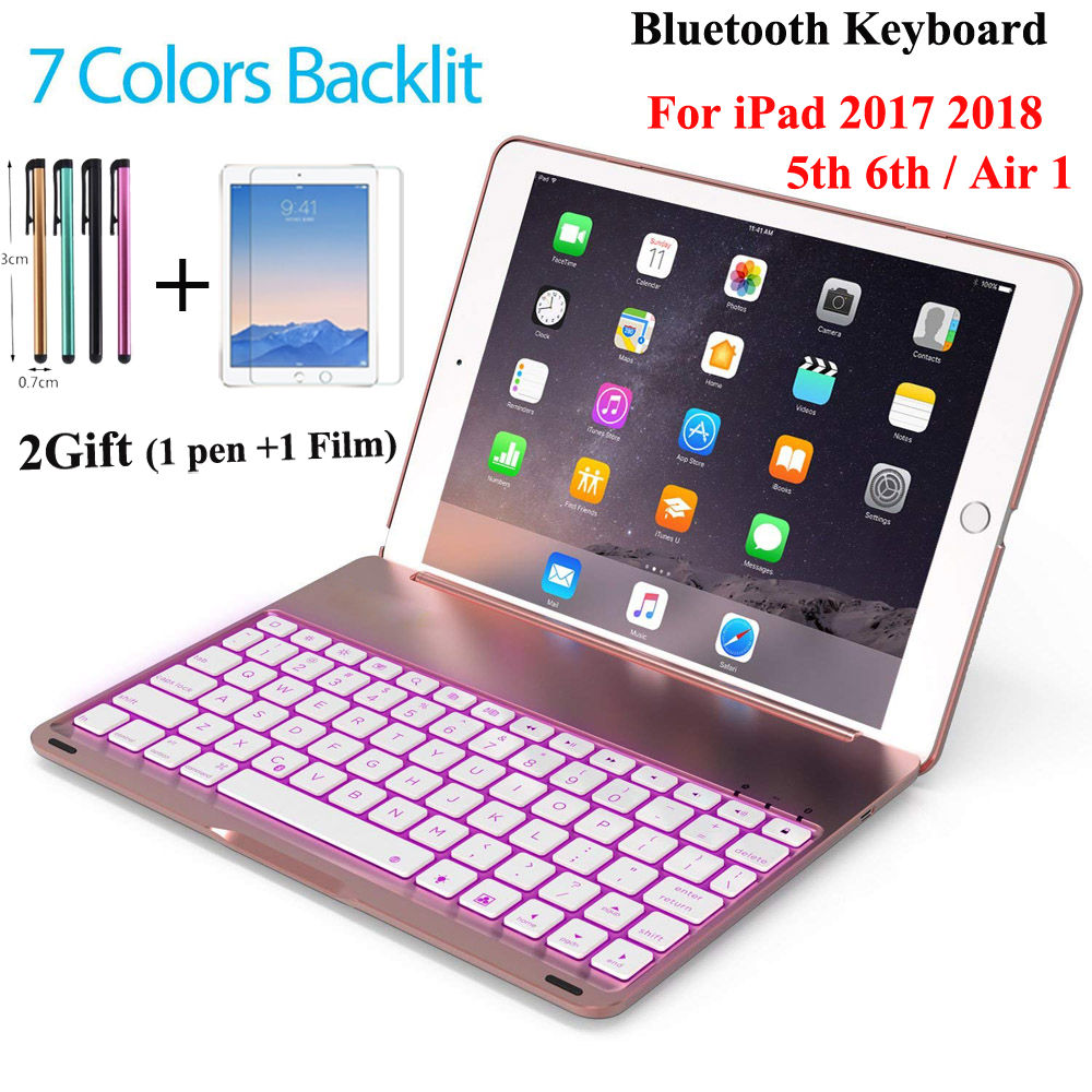 7 Colors Backlit Light Wireless Bluetooth Keyboard Case Cover For Ipad 9.7 New 2017 5Th 6Th / Air 1 A1822 A1823 A1893+2Gift