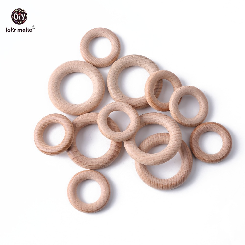 Let's Make Baby Teether 5pc Beech Wood Rring Food Grade Wooden Teether Baby Products DIY Crafts Teething Toys For Children Gift