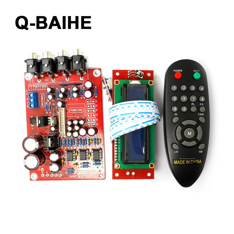 M62446 + NE5532+ LCD dispaly Remote Control preamp board 5.1  pre-amp board+Volume controller 6-channel cs3310 remote preamplifier board with vfd display 4 way input hifi preamp remote control digital volume control board