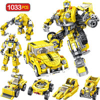 1033pcs Technic Model Blocks Legoingly Transformation Anime Series Robot Building Blocks Toy 2 Size Robot Car Toy for Boy