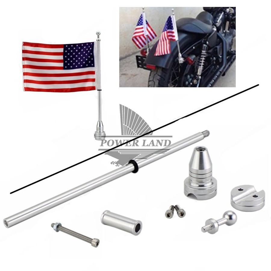 Chrome Motorcycle Bike Rear Mounting Pole USA American Flag For Harley Touring Sportster Dyna Softail Tri Luggage Rack motorcycle accessories rear fender eliminator license plate bolt screw for harley dyna softail sportster black silver