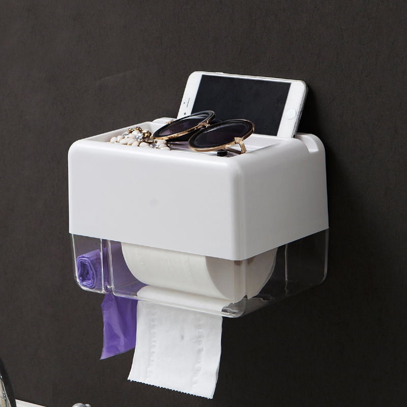 050 Fashion Seamless waterproof paper towel box with mobile phone rack bathroom storage tissue box in Tissue Boxes from Home Garden
