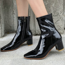 2019 Spring Autumn Fashion Boots Microfiber Leather Women Ankle Boots Comfort Thick High Heels Square Toe Zipper Boots Shoes цена 2017