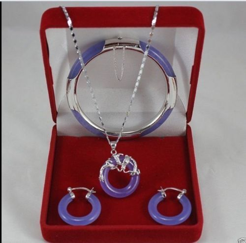 NºJewerly roxo dragão de prata pingente brincos pulseira set Jóias ... 4f00fe82e9