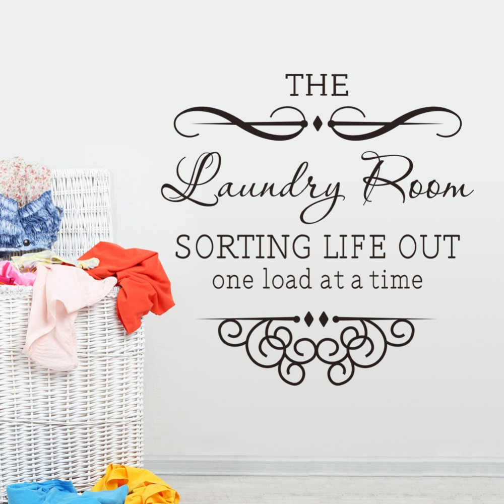 Laundry room vinyl quote wall decal stickers decorative pattern home decor bathroom diy art mural wallpaper in wall stickers from home garden on
