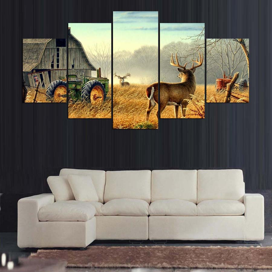 5 Piece Canvas Animal Whitetail Deers On Farm Wood House Tractor Canvas Picture Painting Decor Print Poster Wall Art Wd-1920 #4