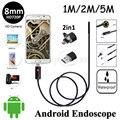 8 мм Объектив 2in1 Android USB Эндоскоп Камеры HD720P 5 М 2 М 1 М Гибкая Змея Труба Инспекции Android Телефон OTG USB Бороскоп камера