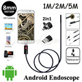 8mm Lens 2in1 Android USB Endoscope Camera HD720P 5M 2M 1M Flexible Snake Pipe Inspection Android Phone OTG USB Borescope Camera