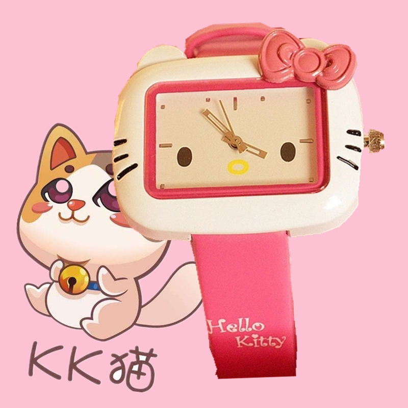 Korean Edition cute KT cat fashion female watch Hello Kitty cartoon child watch jelly color girl Watch