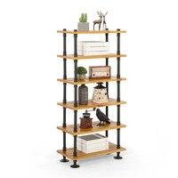 Industrial Rustic Retro Urban Iron Pipe Floor Storage Display Stand Solid Wood Multi Layers Racks Book Shelf Heavy Duty