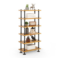 Industrial Rustic Retro Urban Iron Pipe Floor Storage Display Stand Solid Wood Multi Layers Racks Book Shelf Heavy Duty