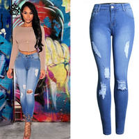 2018 Women`s Distressed Curvy blue High Waist Stretch Denim Pants Ripped Skinny Jeans For Woman Jean plus size