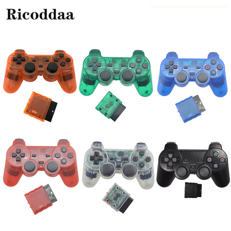 Transparent Wireless Gamepad For Sony PS2 Controller Vibration Shock Joypad Wireless Controle For Playstation 2 Console Joystick controller dance pad wheel gun extension cable cord for sony ps1 ps2 slim line playstation 1 playstation 2 console
