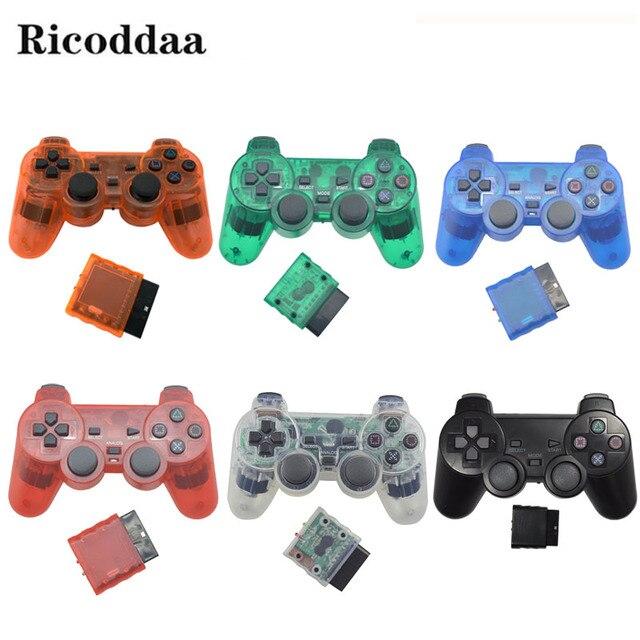Transparente Vibração Choque Joypad Controlador Gamepad Sem Fio Para Sony PS2 2 Controle Sem Fio Para Playstation Console de Joystick