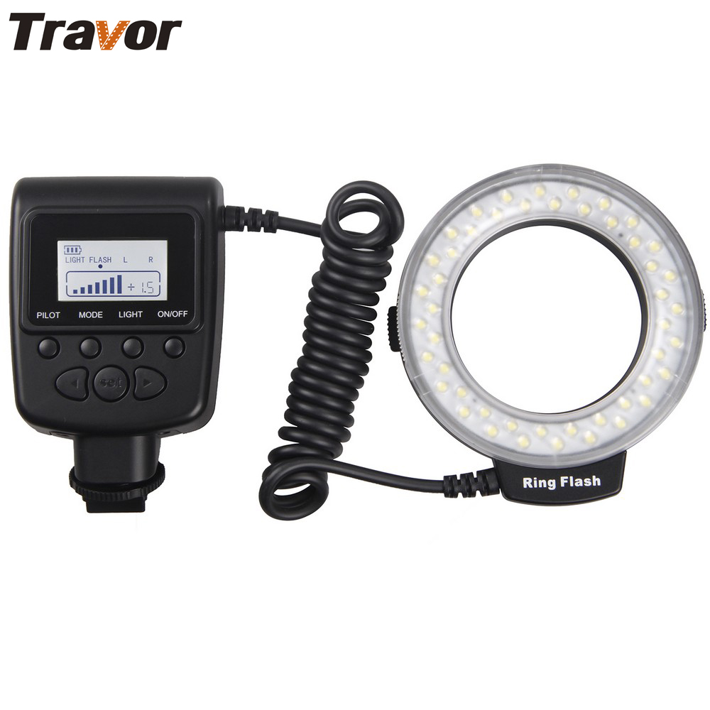 Canavar Nikon Panasonic Pentax Olympus DSLR Kamera üçün Travour Macro 48pcs LED Ring Flash Light RF550D
