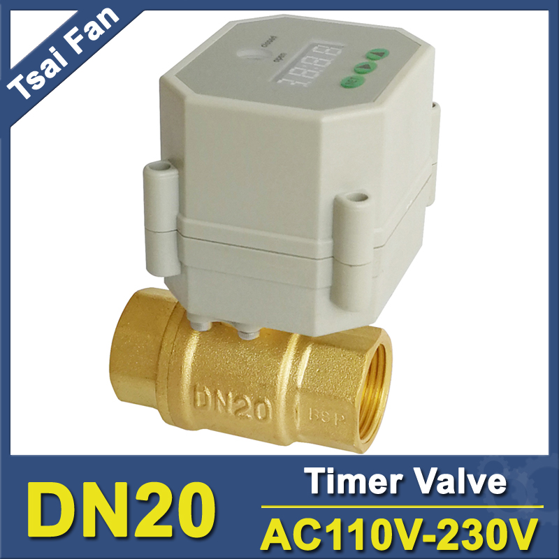 3/4'' brass time control electric valve AC110V-230V BSP/NPT can be selected for garden water irrigation Drain water air pump ac110v 230v bsp npt 1 2 time controlled motorized ball valve for garden air compressor drain water air pump water control