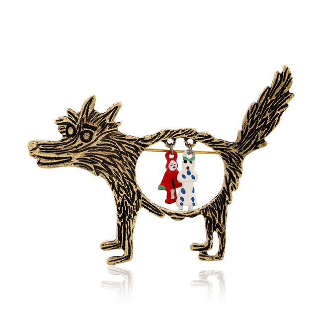 Best Deal Fashion Vintage Wolf Brooch Broches Jewelry Little Red Riding Hood Unique Epaulette Brooches for Women