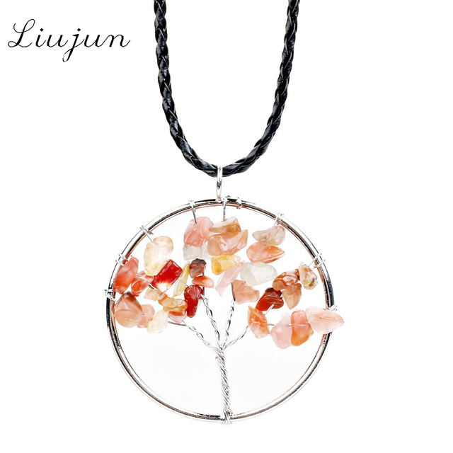 Liujun brand meaning blessing lucky tree of life pendant necklace liujun brand meaning blessing lucky tree of life pendant necklace quartz women multicolor rainbow chakra natural mozeypictures Image collections
