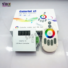 Free shipping DC5-24V WS2811/WS2812B/6803 LED tape digital colorful x1 LED music controller with RF touch remote Max 600pixels
