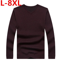 big size 8XL7XL 6XL 5XL Winter Men Jumper 100% Pure Cashmere Knitted Sweater V neck Long Sleeve Warm Pullovers Male New Sweaters