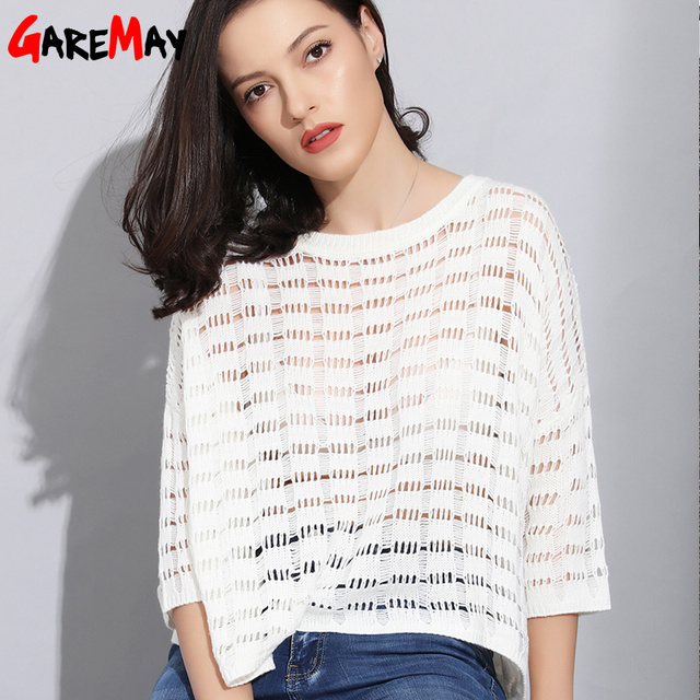89faaf301b4 US $10.59 47% OFF|Spring Women Pullovers and Hollow Out Sweaters 2019 Sexy  White Knitted Sweater Female Hollow Womens Jumper Tops Pull Femme-in ...