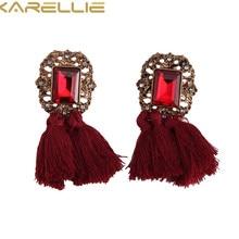 KARELLIE Women's Trendy Statement Dangle Earring Hanging Drops Tassels Earring for Women with Stone