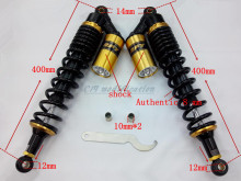14 mm 400 mm round hole black + gold motorcycle shock absorber air impact device, suitable for Honda, yamaha, suzuki, kawasaki,