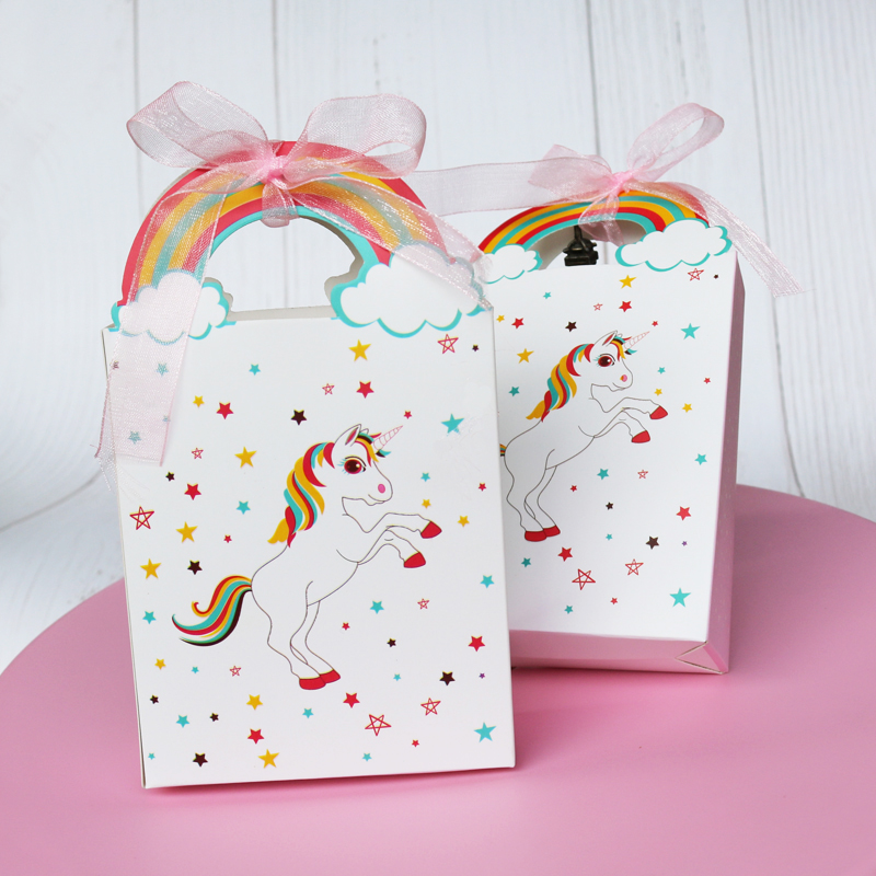 5pcs Unicorn Paper Bag Rainbow Candy Boxes Cookie Chocolate Gift Box Bag Unicorn Party Wedding