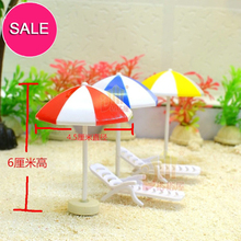 G05-X422 barn baby gåva Toy 1:12 Dollhouse mini Möbler Miniatyr rement Parasol och strandstolar 2st / set