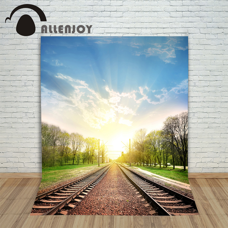 Allenjoy Backgrounds filming Railway early morning Trees light backdrop photography studio photocall 5x7ft
