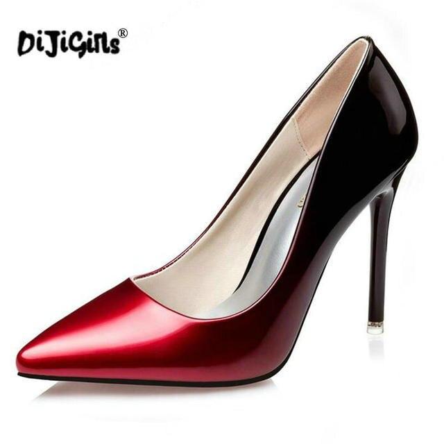 date de sortie: 52769 a9f29 € 18.13 8% de réduction DIJIGIRLS Mode Nouveau Bureau Dame Bout Pointu 10  cm Talons hauts chaussures Couleurs Mélangées Semelle Rouge Femmes Pompes  ...