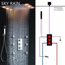 SKY RAIN Bathroom New Design 3 Function Square Knobs Brass Thermostatic Valve Polished Shower Mixer(China)