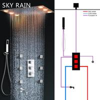 SKY RAIN Bathroom New Design 3 Function Square Knobs Brass Thermostatic Valve Polished Shower Mixer