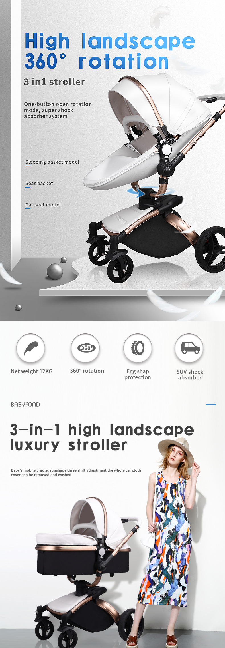 Egg Pram Replacement Wheels Details About 2019 3 In 1 Luxury Baby Stroller Leather Travel Car High View Pram Car Seat Fold