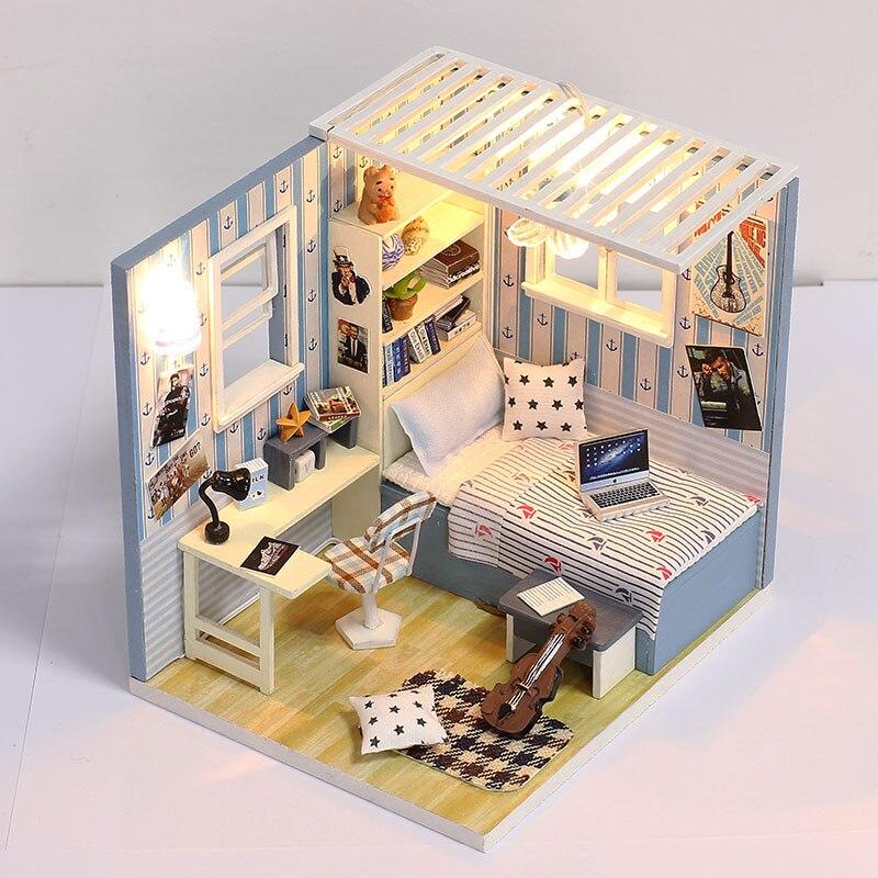 Iie создать дом игрушки Миниатюрный Кукольный дом синий Спальня деревянный дом с милой Мебель Наборы Best подарок на день рождения для мальчик...