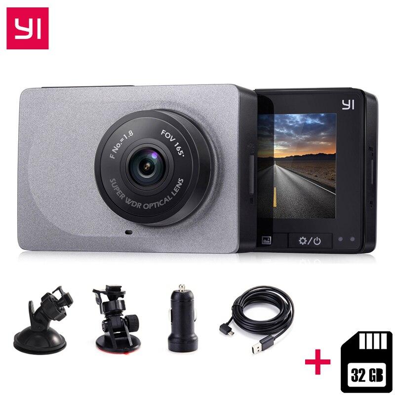 [Edição internacional] YI DashCamera xiaomi Inteligente + 32G Cartão de 2.7 Polegada DVR 165 Graus 1080 P/60fps Video Recorder ADAS wi-fi