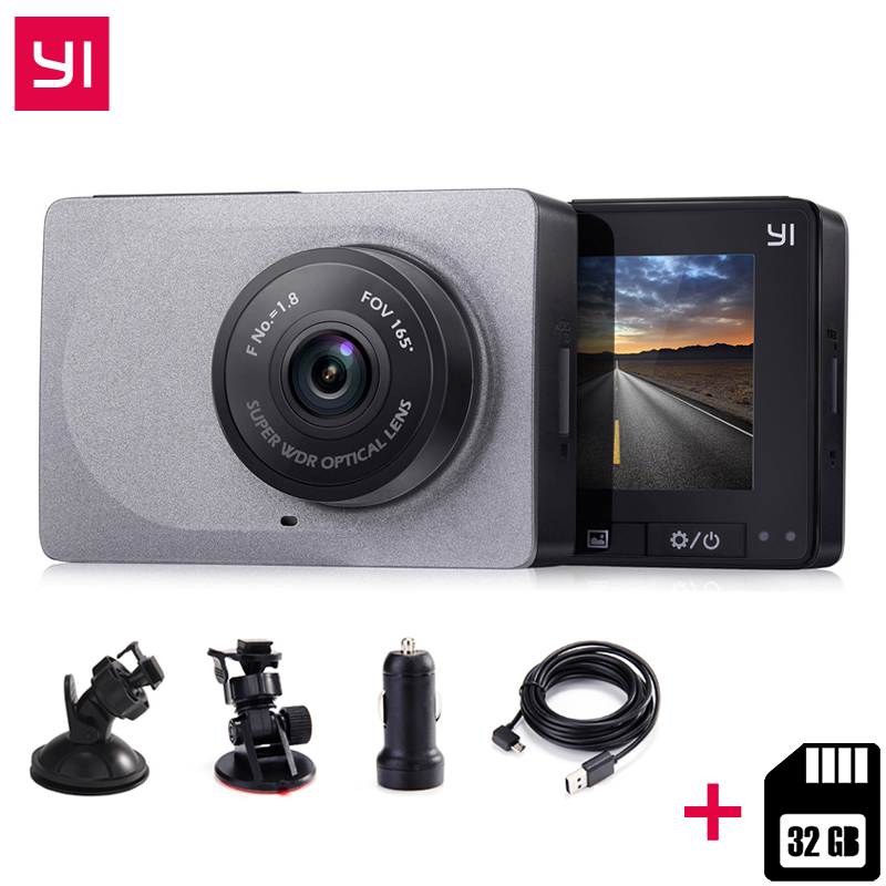 [Internationale Ausgabe] YI xiaomi Smart DashCamera + 32G Karte 2,7 Zoll DVR 165 Grad 1080 P/60fps Video Recorder ADAS WiFi